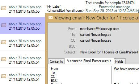 Track email processing results in the email history window. File logging and reporting also supported