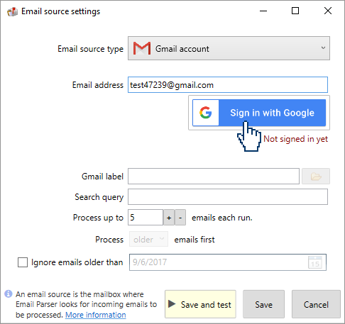 signing in Gmail to parse emails