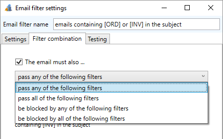 rules to combine email filters