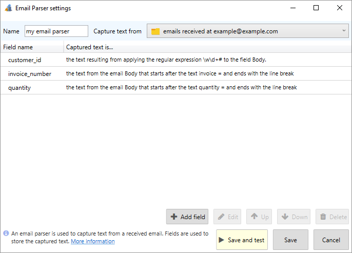 parse email and capture some text