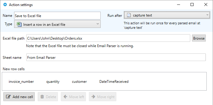 exporting outlook emails to excel
