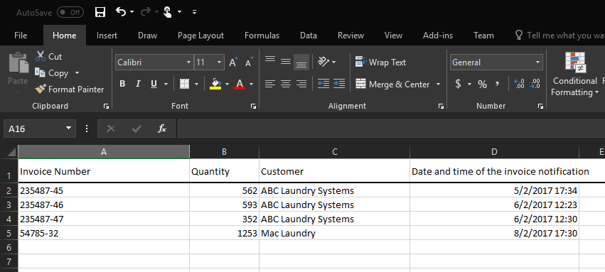 email text exported to an excel
