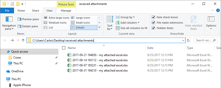 attached files saved by date