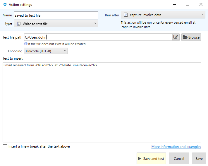 saving email parsed text to file
