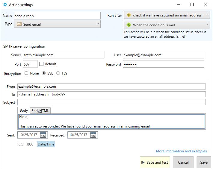auto responder SMTP settings