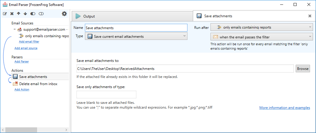 How to save email attachments automatically - Email Parser