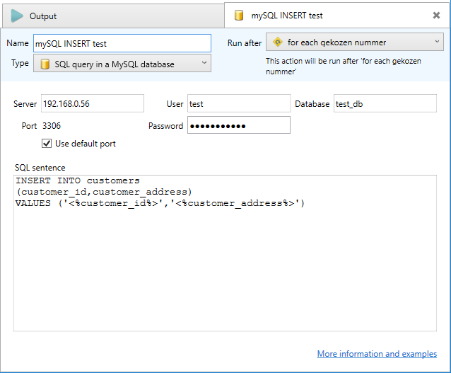 Running a SQL statement in a MySQL server database - Email