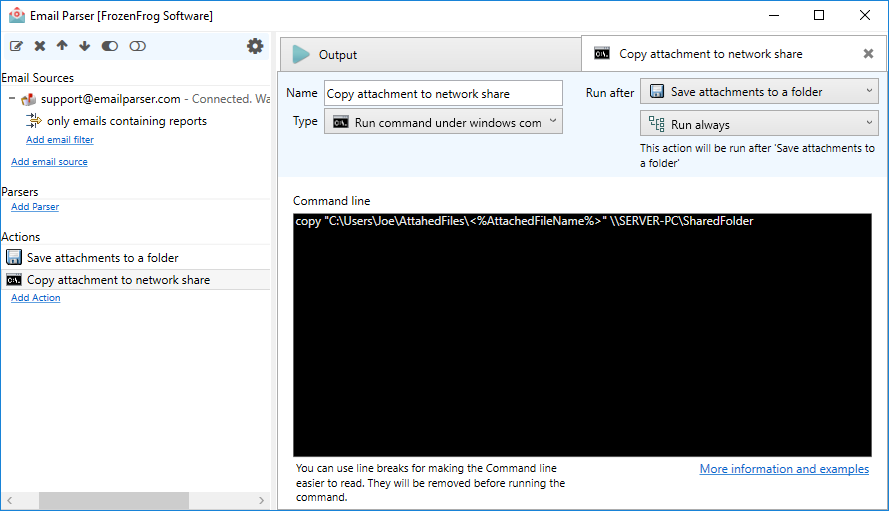 Running a command under Windows command prompt - Email