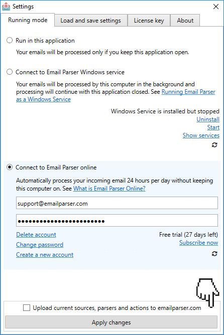 Email Parser running modes - Email Parser software