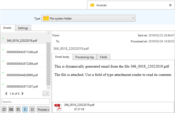 showing files as if the were emails