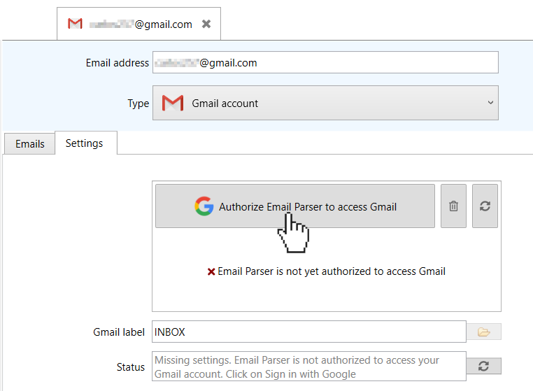 authorize email parser to access your Gmail