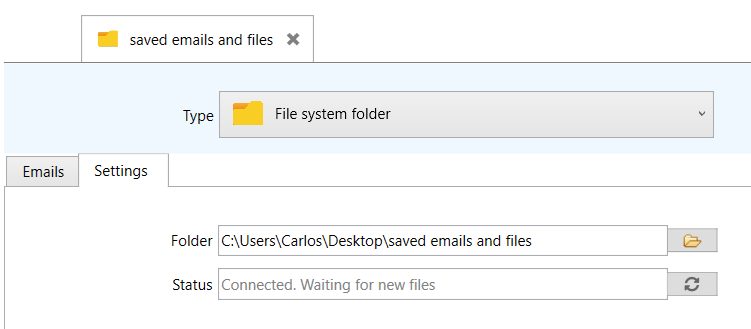 Connected to a computer folder