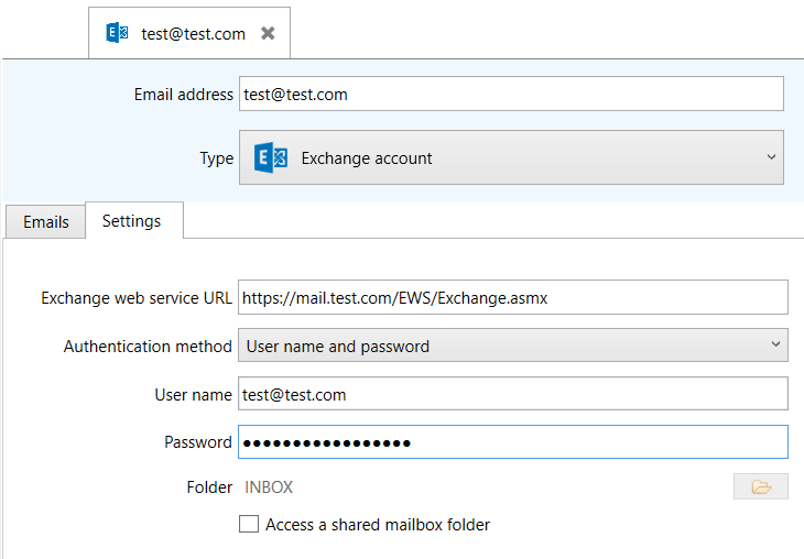 selecting an imap account under the email source settings