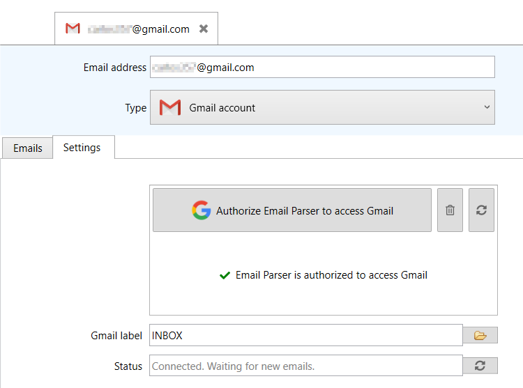 Email Parser is authorized to access your Gmail account