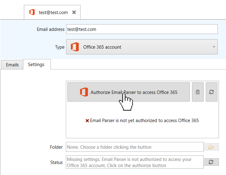 authorize email parser to access your Office 365 account