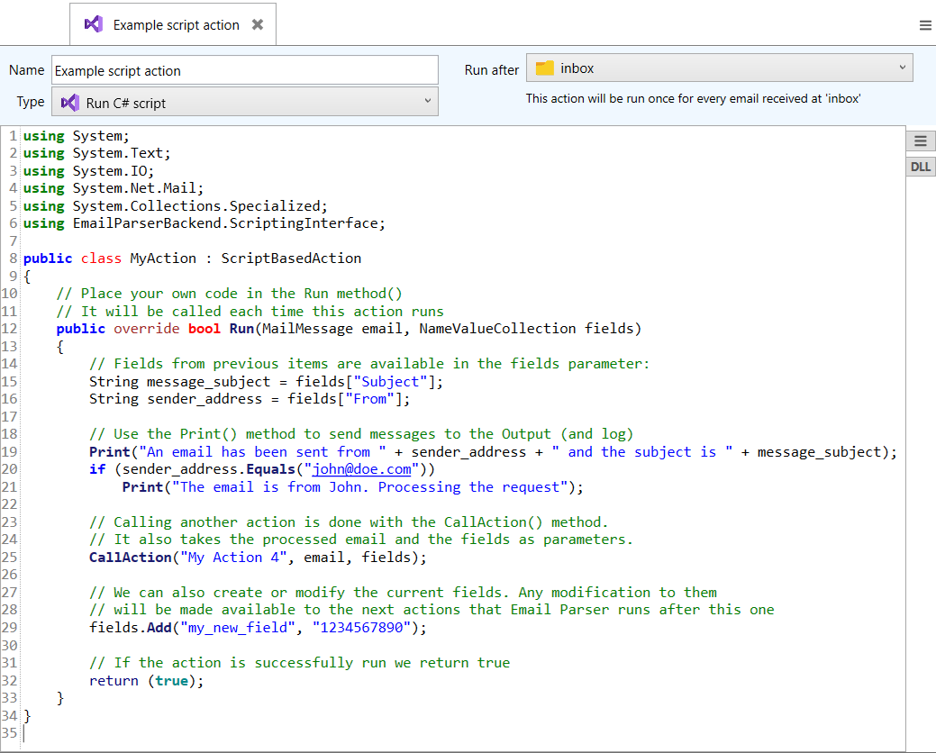 running a cs code as part of email text capturing