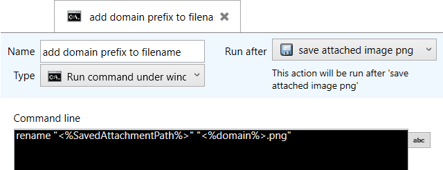 Settings of the action to rename an attached file